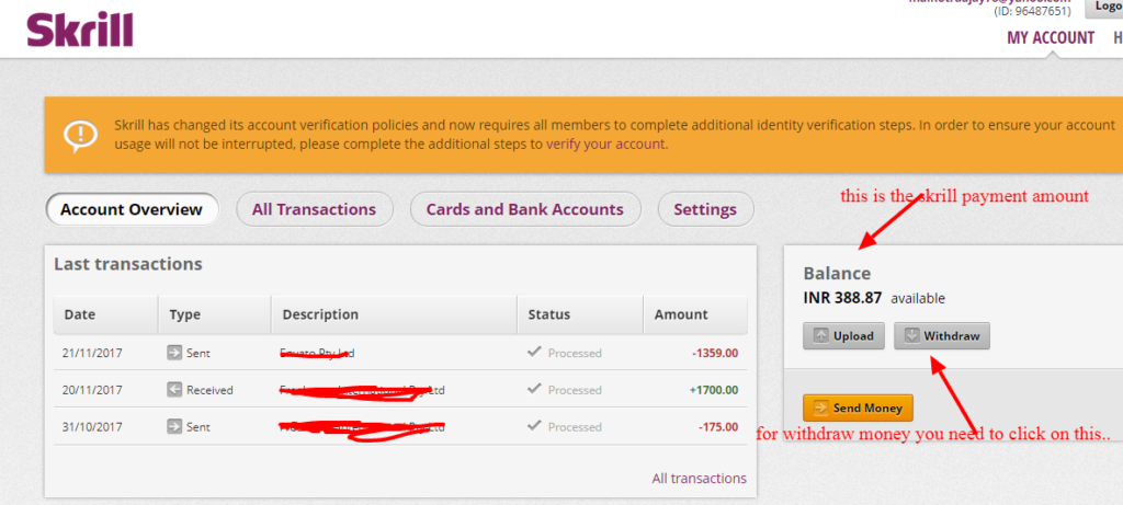 Skrill Bank Account