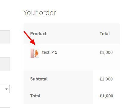 How to add product thumbnail to review order table on
