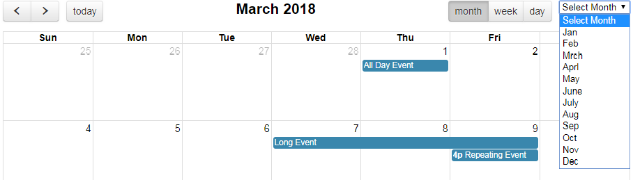 Fullcalendar with select month drop down - therichpost