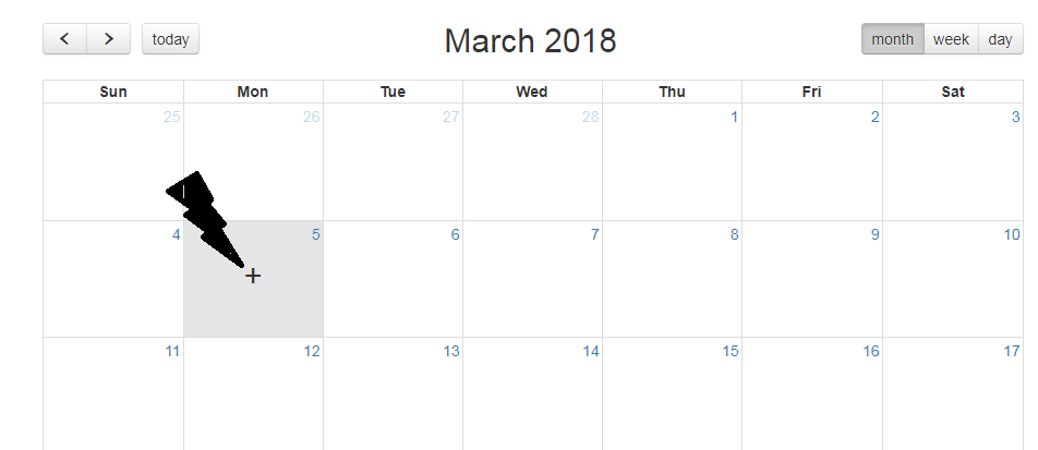 How to show plus icon on day hover in fullcalendar? - therichpost