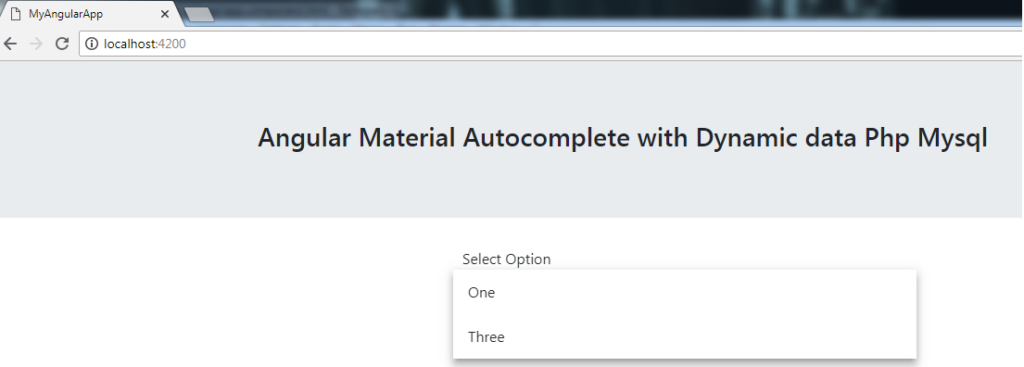 Angular Material Autocomplete with Dynamic data Php Mysql