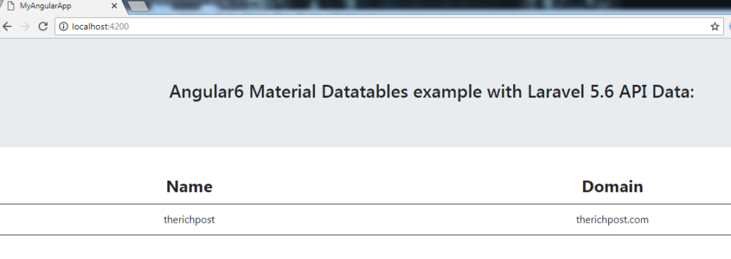 Angular Material Datatables example with Laravel 5 6 API Data