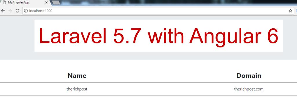 Laravel 5.7 with Angular 6