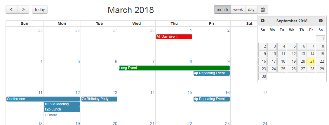 Add Datepicker to Fullcalendar