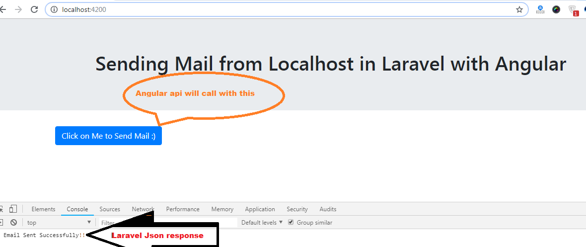 Sending Mail from Localhost in Laravel with Angular