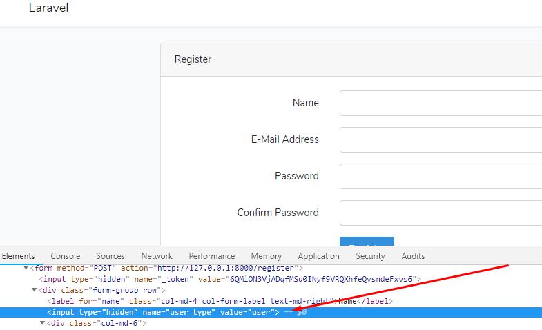Set Laravel Default Auth with custom User type Field