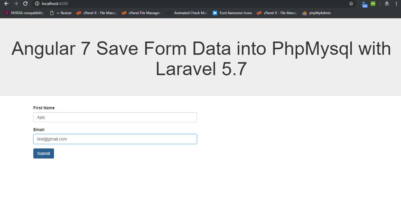 How to Save Angular 7 Form Data into Php Mysql with Laravel