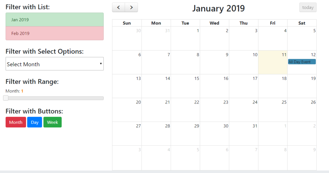 Javascript FullCalendar with custom Filters