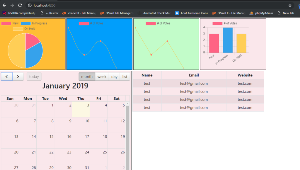 how to add chart js datatables fullcalendar in angular single component