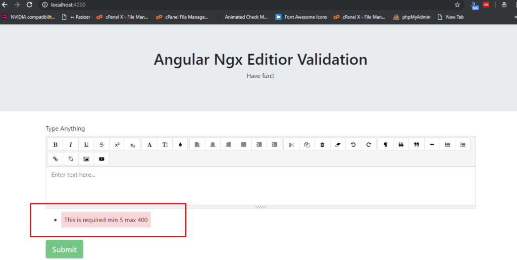 Angular 7 Ngx Editor Validation Working Example