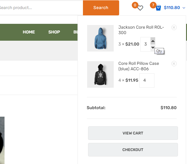 Woocommerce mini cart add change quantity buttons