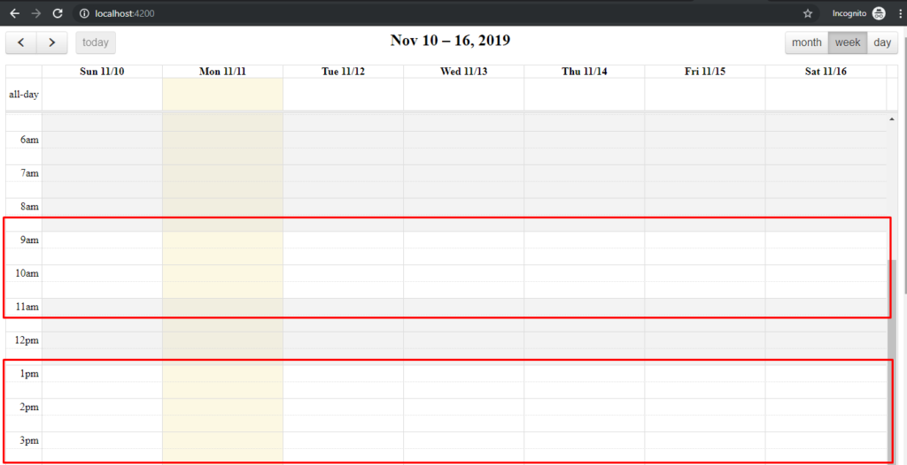 How to implement Business Hours Fullcalendar  in Angular 8?