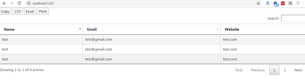 Angular datatable with print csv excel copy buttons