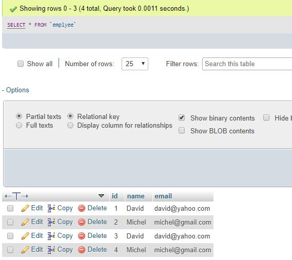 Mysql database working example