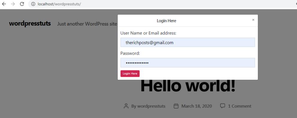 wordpress user login frontend