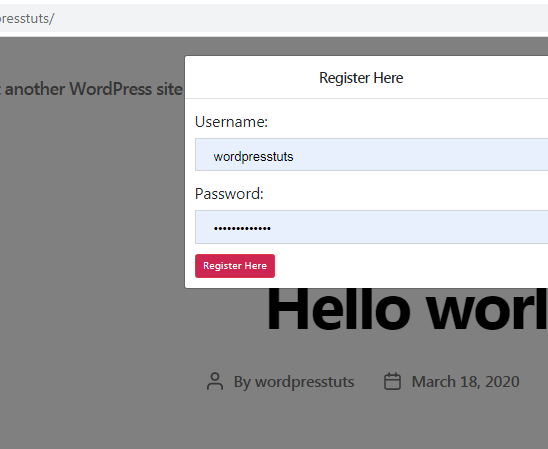 wordpress user registration frontend
