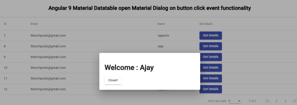 Angular 9 Material Datatable open Material Dialog on button click event functionality