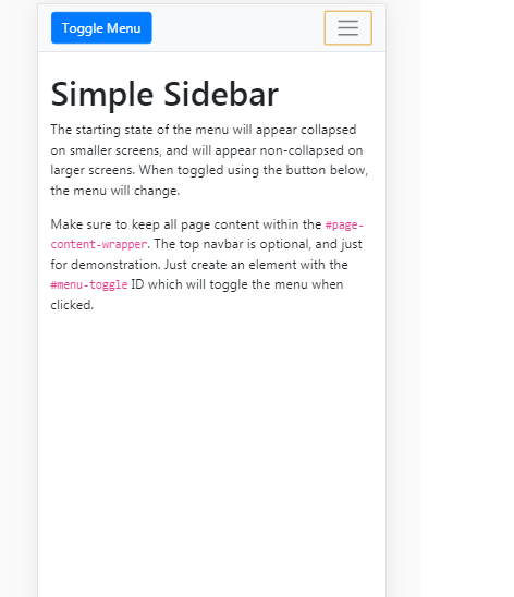 Bootstrap Angular Template Mobile View
