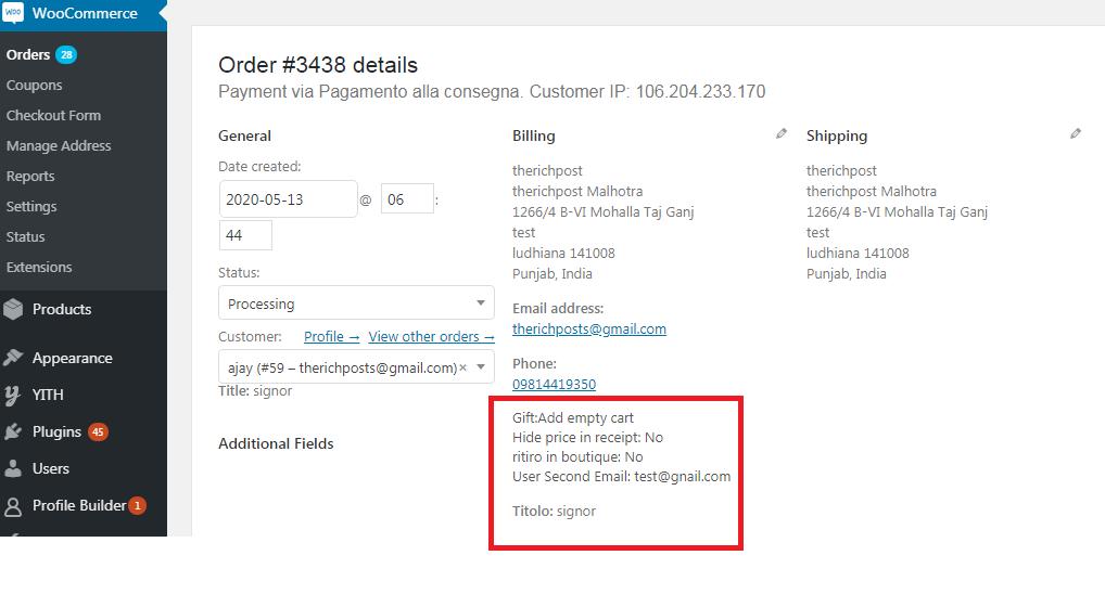 woocommerce add custom data billing area backend