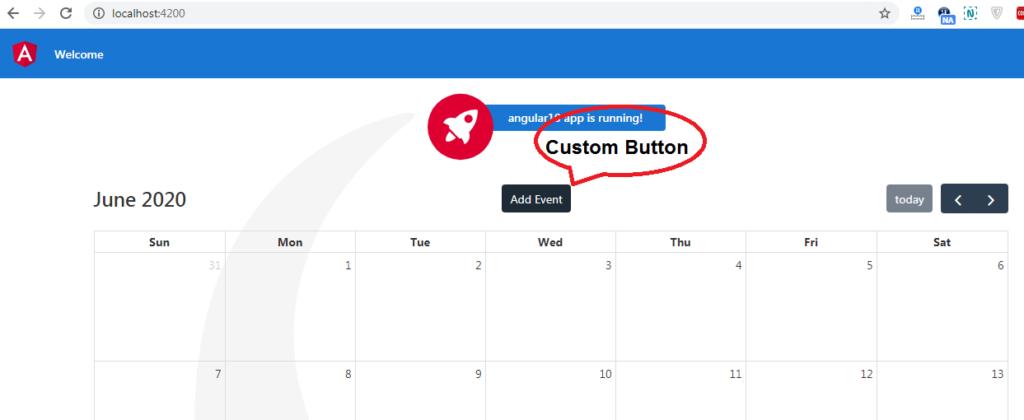 angular 10 fullcalendar add custom button