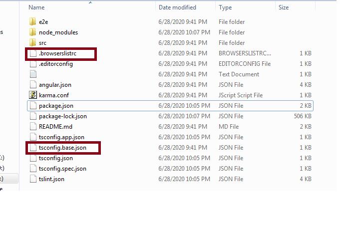 Angular 10 with new files.