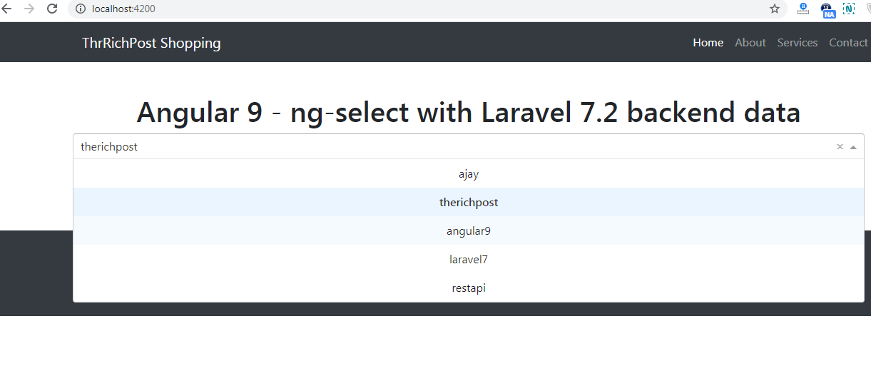 angular 9 ng select laravel data