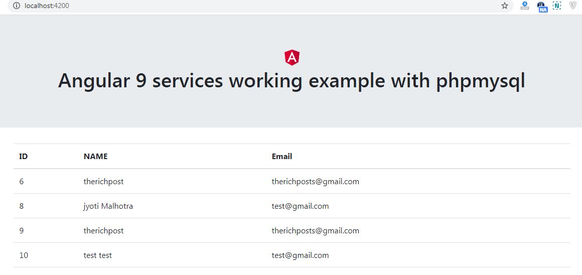 angular 9 services with php mysql data