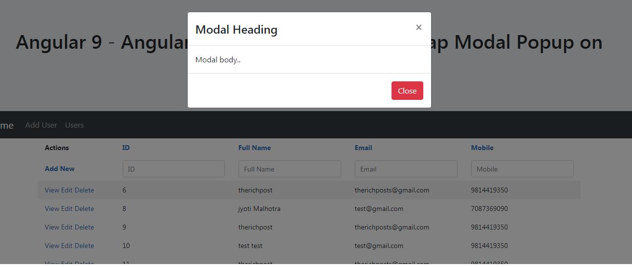 angular smart table open modal