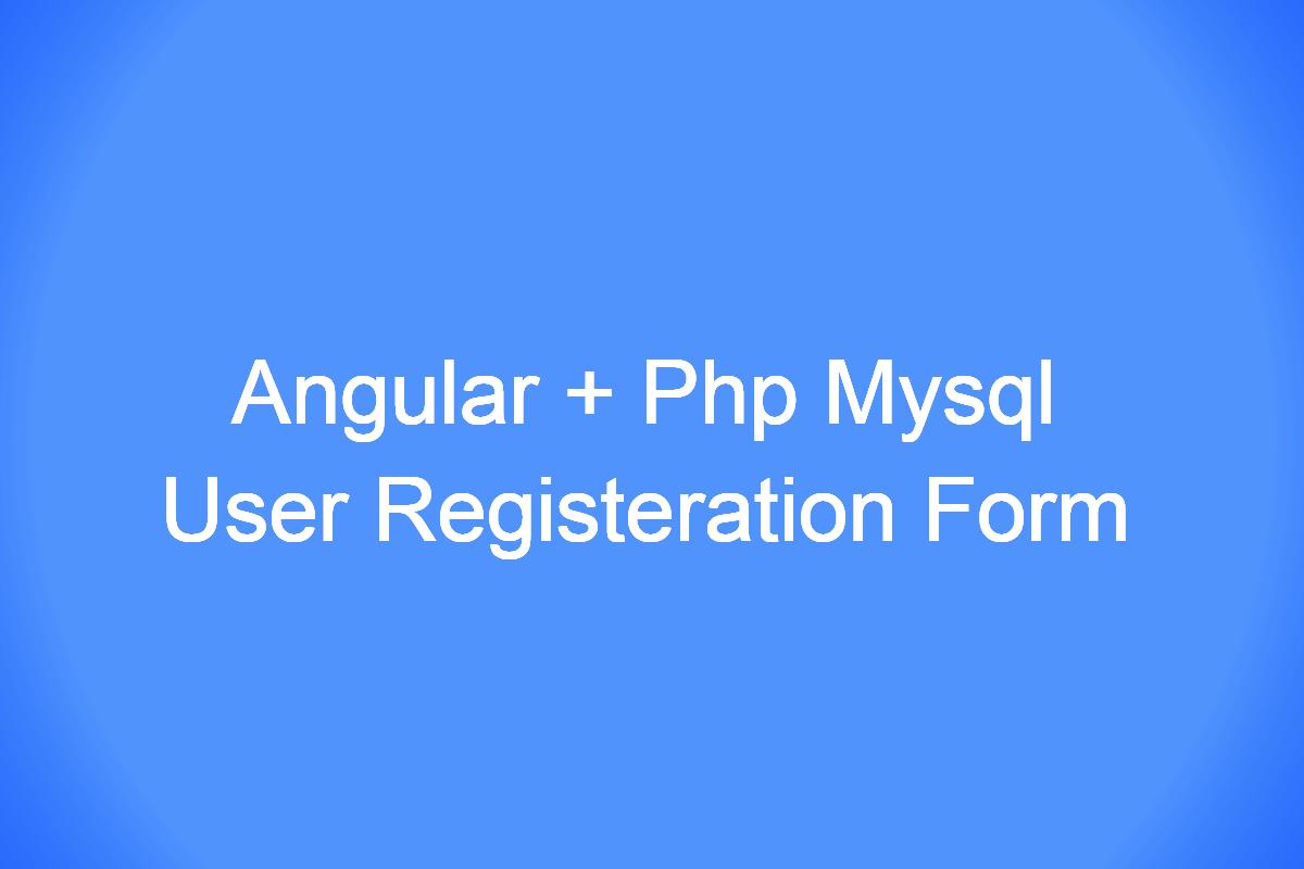 Angular 9 | PHP User Registration Form