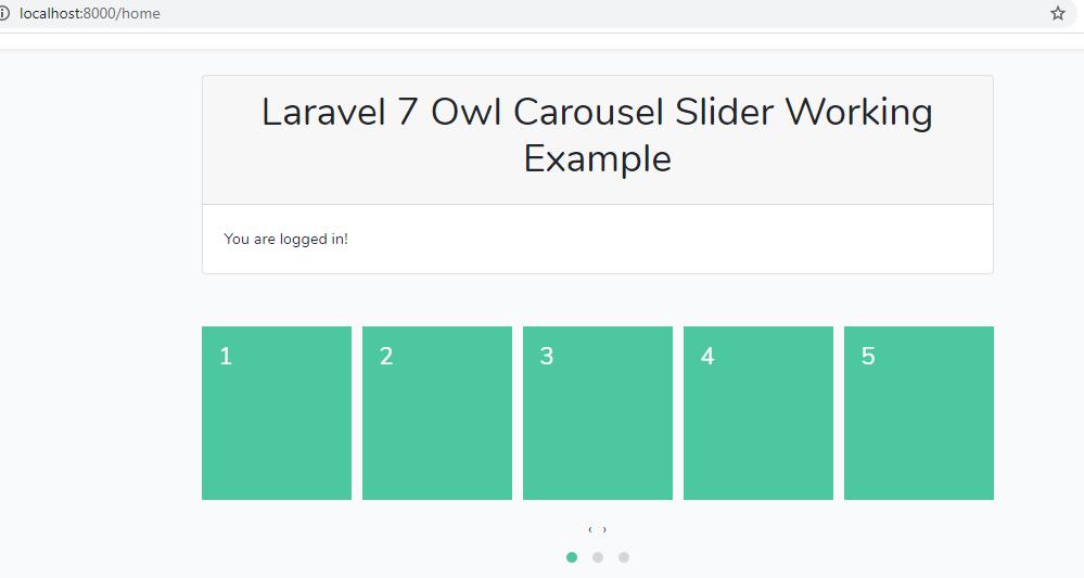 laravel owl slider