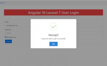 Angular 10 Laravel 7 User Login
