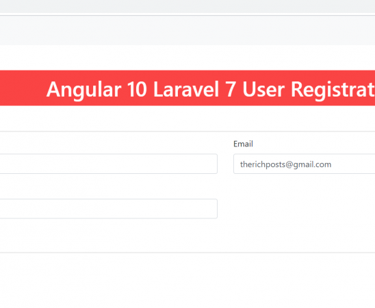 Angular 10 Laravel 7 user registration
