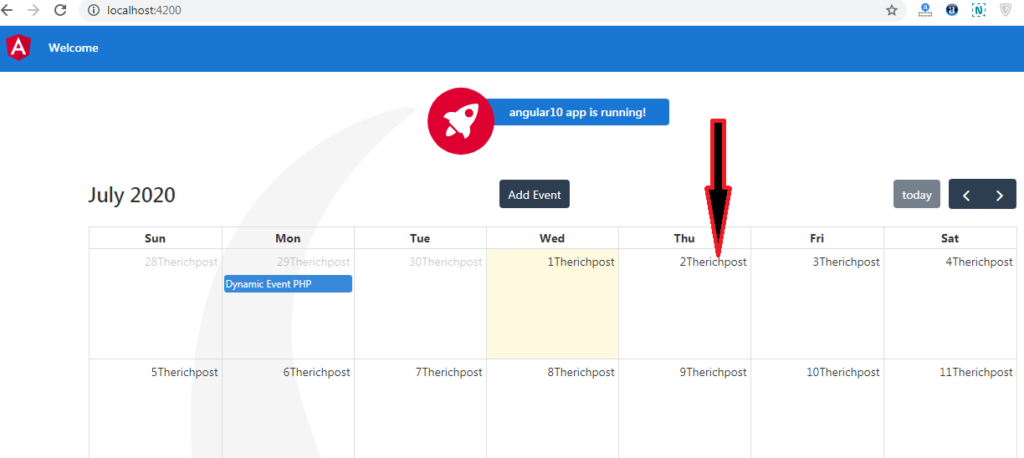 Angular fullcalendar show custom text in each cell