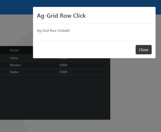 Angular 9 10 ag Grid open bootstrap modal on rowclick