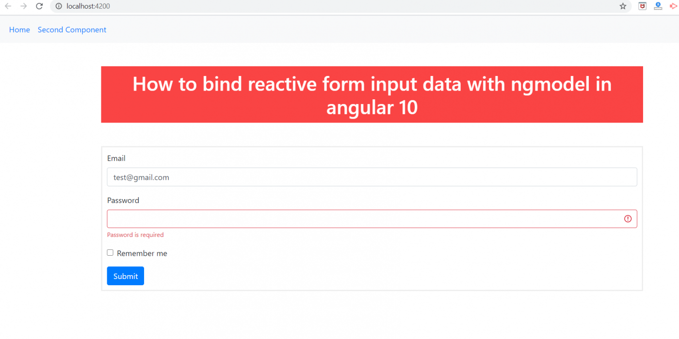 How to bind reactive form input data with ngModel in Angular 10?