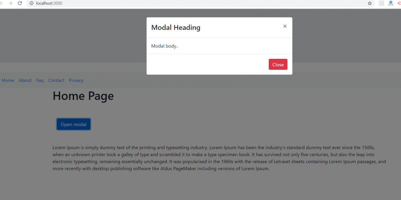 How to bootstrap modal in Reactjs application