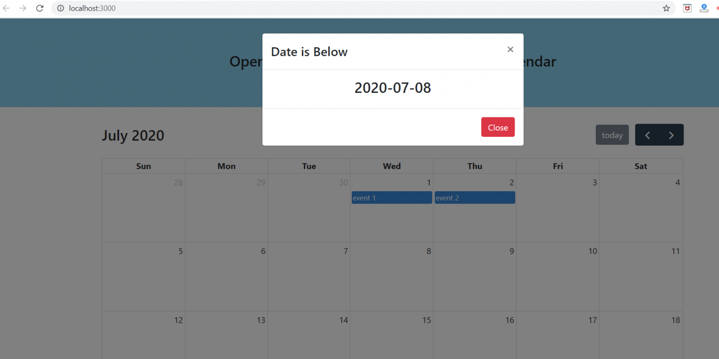 How to open bootstrap modal popup on dayclick fullcalendar into reactjs application?