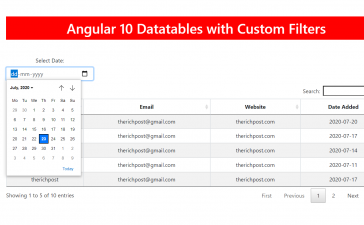 angular 10 datatable with datepicker filter