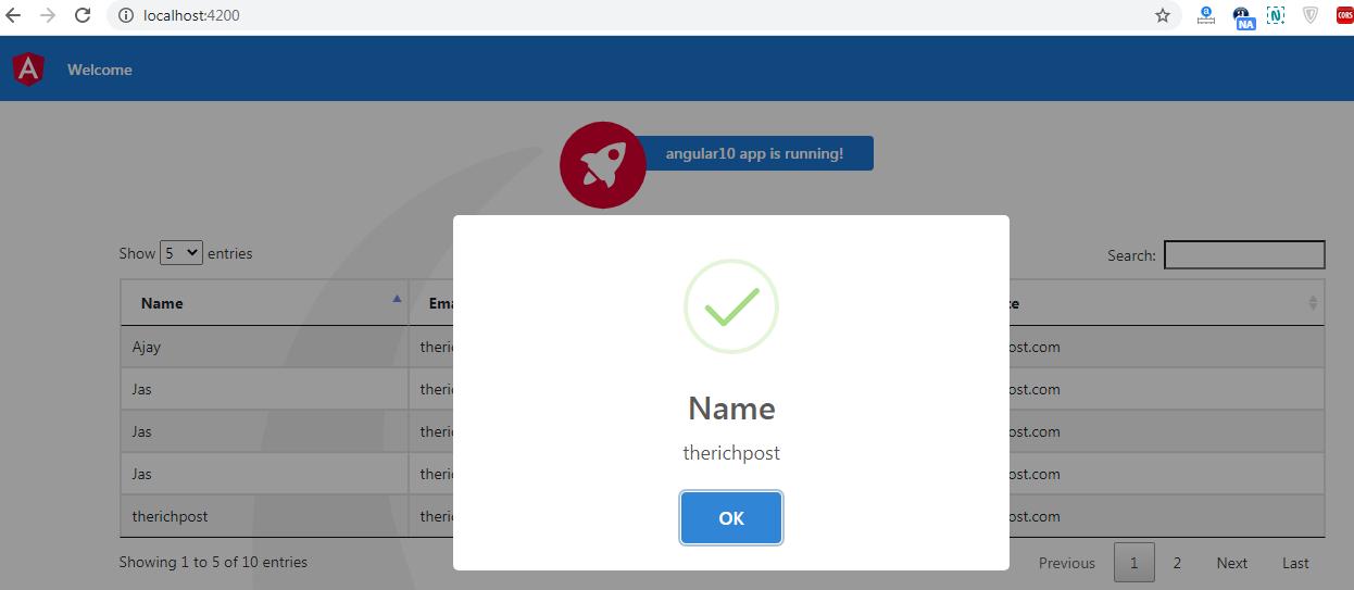 angular 10 datatable row click open sweetalert