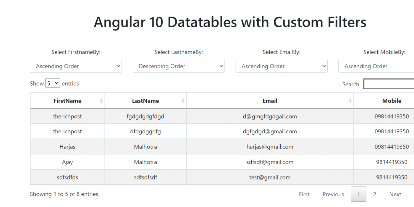 Angular 10 Datatables with Custom Filters