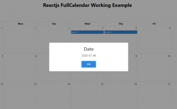 Reactjs FullCalendar open Sweetalert on dayclick