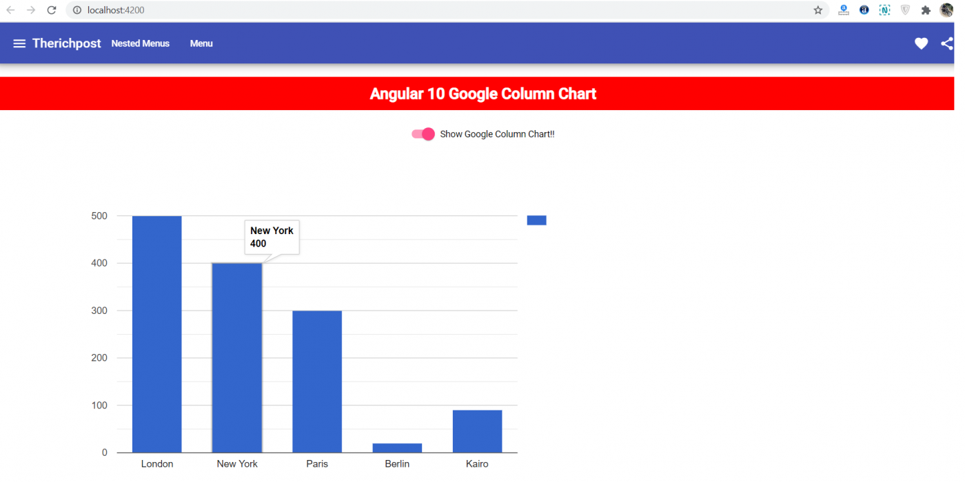 Angular 10 Google Column Chart Working Example