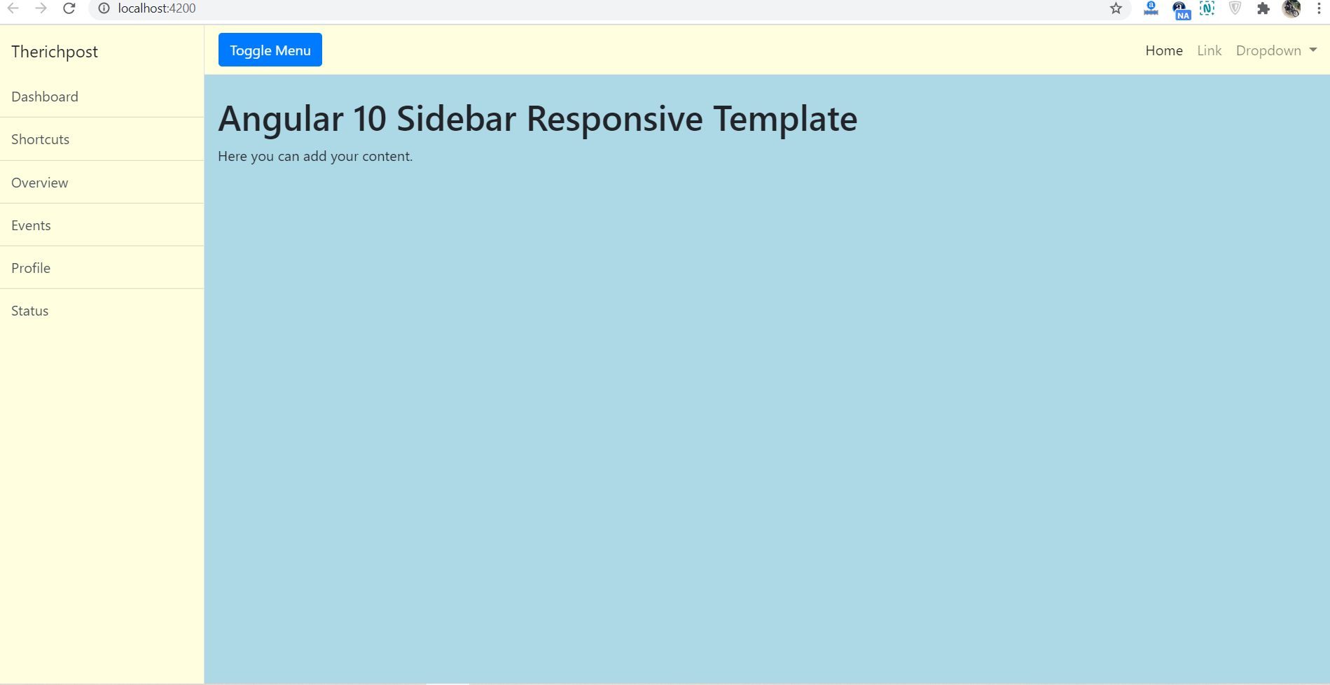 Angular 10 Responsive Sidebar Template Free