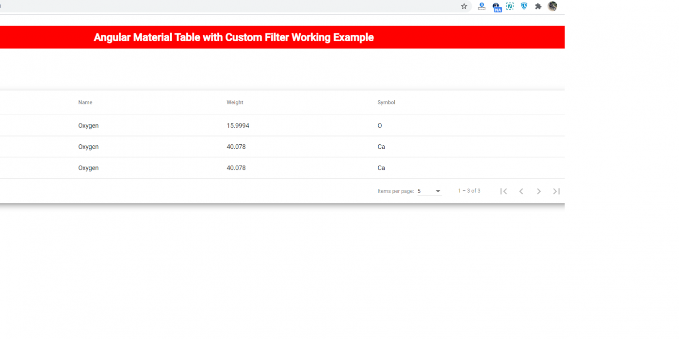 angular material table filter by column