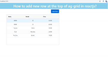 How to add new row at the top of ag-grid in reactjs?