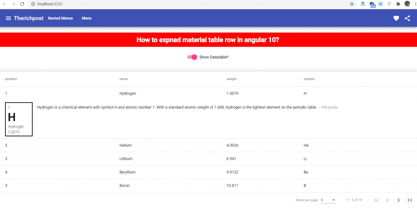 How to expand angular 10 material table row?