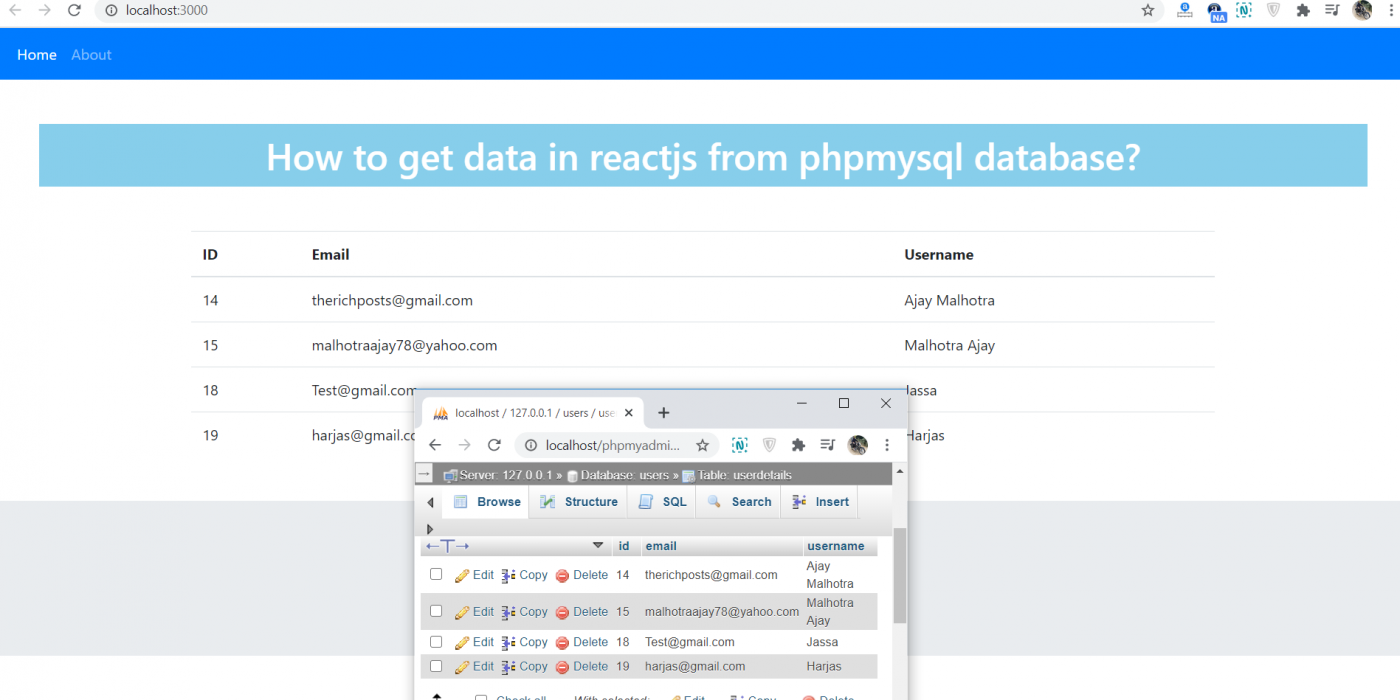 How to get data in reactjs from php mysql database?