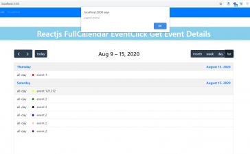 How to get event details on event click fullcalendar in reactjs?