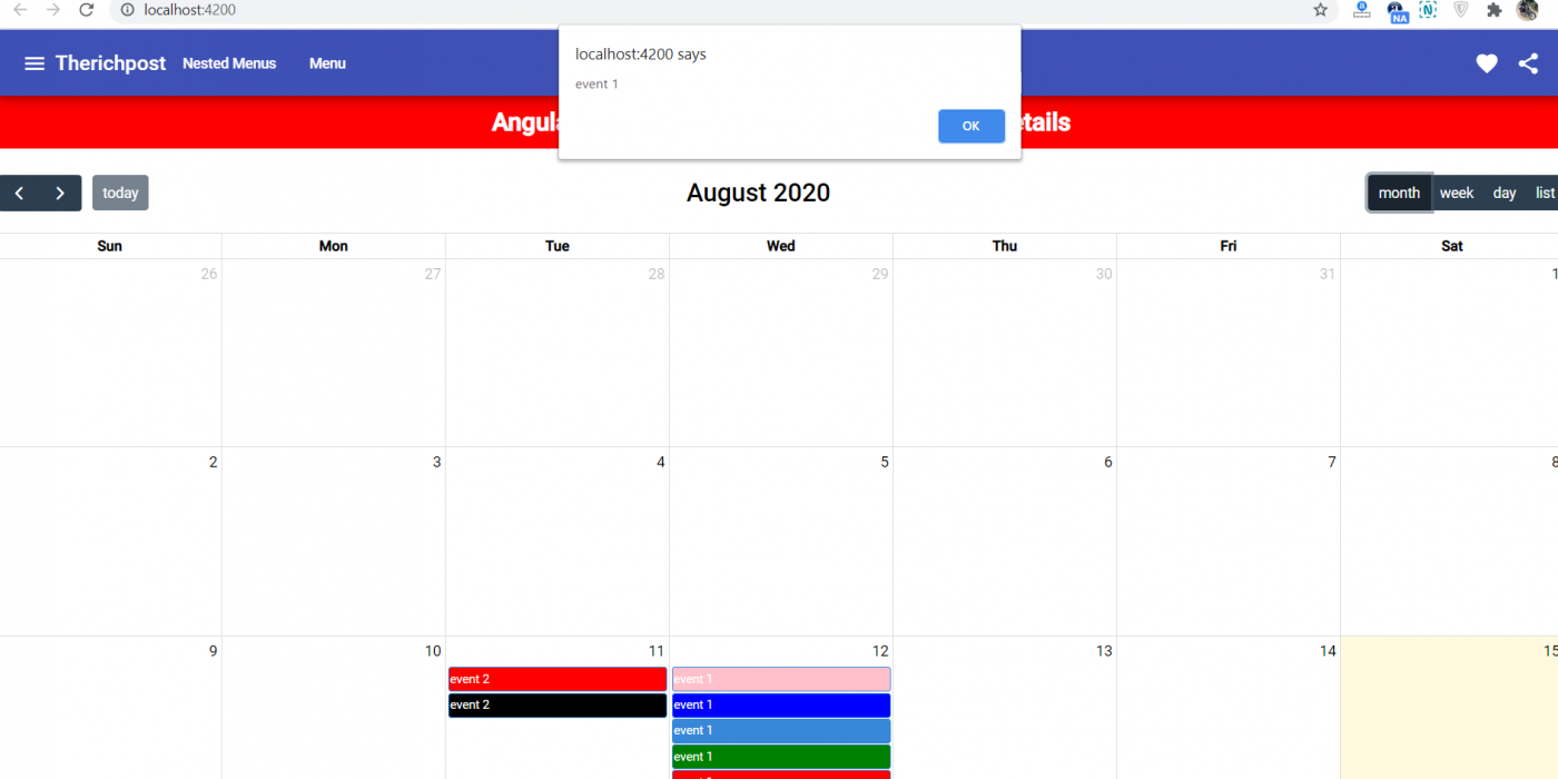 How to get event details on event click fullcalendar in angular 10?