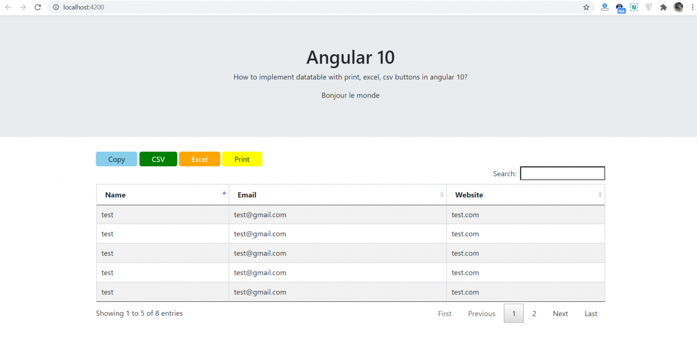 How to implement datatable with print, excel, csv buttons in angular 10